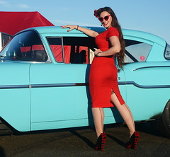 Holly_9241 (Fast an' Bulbous) Tags: classic american car chevy chevrolet vehicle automobile girl woman hot sexy pinup model red wiggle dress high heels stockings nylond outdoor people long brunette hair