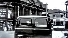 Tram and Traffic. Sheffield. 1957. (ManOfYorkshire) Tags: sheffield 1957 traffic van tram generalassurancecompany building road city centre yorkshire tramway street running system nostalgia history assurance haymarket