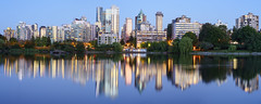 Lost Lagoon Blue Hour (Patrick Lundgren) Tags: vancouver british columbia canada pnw pacific northwest metro a7 a7rii camera full frame downtown false creek bc place stadium construction building condo water night long exposure cityscape skyline panorama lights reflection city skyscraper sky lost lagoon stanley park