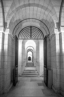 fine art black & white view of the wonderful crypt of the magnificent Panthéon, a gem of the Latin Quarter, Paris, France