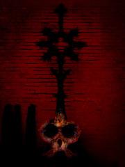 Evil Looks (Steve Taylor (Photography)) Tags: skull shells symbol evil eyes art digitalart black contrast red stark dark lowkey odd strange scary eerie frightening spooky newzealand nz southisland canterbury christchurch shape lines shadow silhouette pumphouse