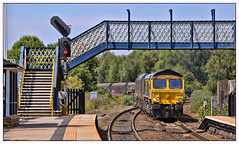 A scoring opportunity (david.hayes77) Tags: class66 shed freight mexborough southyorkshire yorkshire yorks 2018 4e73 gbrf gbrailfreight 66738 huddersfieldtown mexboroughjunction
