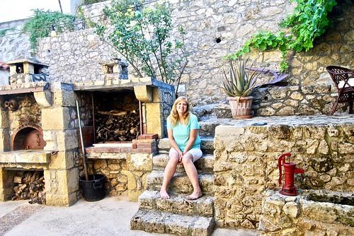 Joy at our honeymoon villa, Siva, Crete