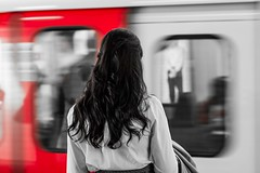waiting (Jonathan Vowles) Tags: tube london station selective woman train underground