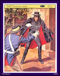 Whitman - Zorro fighting soldier  Frame-Tray Puzzle  1965