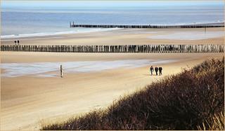 La plage et la mer du Nord à Dombourg, Walcheren, Zeelande, Nederland