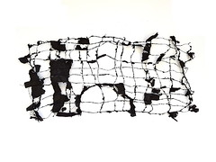 study (Ines Seidel) Tags: newspaper black ink paper sewing news study zeitung schwarz tusche papier genäht texture pattern muster fiberart paperart