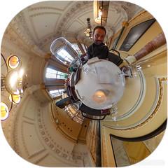 Dinner at The Saint Pancras Hotel (Lee Rosenbaum) Tags: lee theta360 building 360degree selfportrait abstract tabel panorama stereographic littleplanet london hotel saintpancras wineglass architecture ricohthetas england