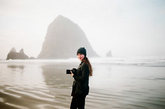 (Hannah Vickers) Tags: sky water sea beach ocean me myself portrait film canon cannon cannonbeach oregon pacific pacificcoast haystockrock
