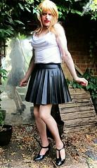 Unique Skirt (Amber :-)) Tags: black faux leather sunray pleated mini skirt tgirl transvestite crossdressing