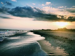 (tchoff99) Tags: shells lowtide star shine vacation nc usa romantic rustic footprints dusk cloudscape sun clouds sunset sand nature tide sea seashore atlanticbeach summer