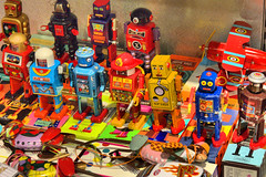 Robots.Muji, Shanghai (rockyrutherford) Tags: china shanghai muji shop shopping robots toys display colour tin metal