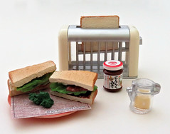 Momoya's Stylish Recipe # 4 (MurderWithMirrors) Tags: rement miniature food meal momoya spice seasoning mwm toaster toast bread sandwich plate mayonnaise