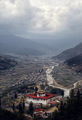 Bhutan: Paro Valley from Above. (icarium.imagery) Tags: bhutan canoneos5dmarkiv architecture buddhist captureone dramaticsky drukyul dzong fortress hills himalayas mountains mystical nature parodzong paro river rinpungdzong sigma50mmf14dghmsart travel water landscape valley village