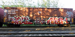 Swalt KPG Again (arrowlakelass) Tags: graffiti steel paint freight boxcars train p1180426jpgedit
