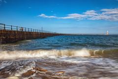 Driftwood on Roker Beach (robinta) Tags: sea coast pier lighthouse ocean water tide waves surf longexposure architecture sunderland england ngc driftwood canon 200d sigma sigma1770 seaandsand coastal seascape