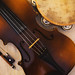 Old Violin From Czechoslovakia and Tambourine