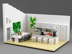 Family house interior (aukbricks) Tags: lego moc legomoc architecture legoarchitecture design minifigscale house familyhouse modern furnished functionalism interior bedroom kitchen livingroom bathroom laundry bed table chairs sofa fireplace desk tv breakfast white legodigitaldesigner ldd mecabricks blender render rendering computerrendering