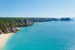 Porthcurno Beach Cornwall (abdelbakrim) Tags: cornwall westcountry westcornwall beach sea seaside seascape coast coastalpath coastline coastal coastpath kernow ocean bay sky water people sand wave rock shore m