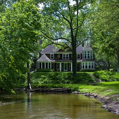 Home on the River (Will-Jensen-2020) Tags: trail riverpark park siding shingle green water tree house clintonriver clinton river michigan sterlingheights usa