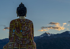 Buddha Sunset (ashwin647) Tags: buddha buddhism tibet himachalpradesh himalayas mountains hills snowcald snow sunset hues peaceful travel explore india indiapictures indiatravel langza spiti lahaul