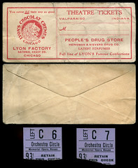 Theatre Ticket Envelope and Stubs, circa 1910s - Valparaiso, Indiana (Shook Photos) Tags: envelope envelopes theatre theater memorialoperahouse lyonfactory nationalcandycompany nationalcandyco lyonschocolatcremes advertising promotion promotional advertisement hienemansieversdrugco hienemanandsievers sieversdrug drugstore pharmacy valparaisoindiana valparaiso indiana portercounty