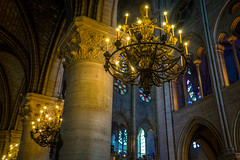Inside Notre Dame everything seems to be beautiful, even the chandeliers.