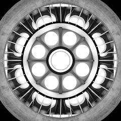 Week 30 - Creative: Circles (Alien Abduction) (Ben Aerssen) Tags: ufo skylights circles monochrome symmetry extraterrestrials bw black white grey gray glass metal dogwood2018 dogwood2018week30 dogwood52 lookup ceiling