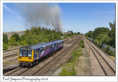 142096 (Paul Simpson Photography) Tags: train pacer transport hatfield stainforth southyorkshire june2018 sunshine paulsimpsonphotography imagesof imageof photoof photosof tracks line england heatwave bluesky smoke fire coalmine hatfieldcolliery hatfieldmain trees decay industry industrial sonya77