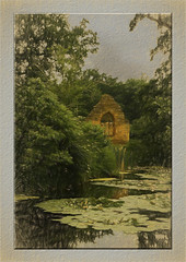 Brockhampton Chapel(UK) (williamwalton001) Tags: pentaxart park plants trees texture timber tones water wood window sky stone moat