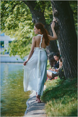 on clean ponds (Yepanchintcev Aleksey) Tags: girl beauty walk moscow russia cleanponds dress white cute russian russiangirl barefoot