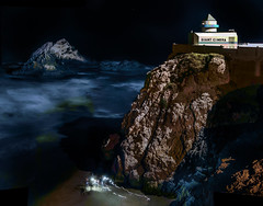 explorers on a foreign planet (pbo31) Tags: bayarea california nikon d810 color july 2018 boury pbo31 summer sanfrancisco night dark black over landsend oceanbeach outerrichmond pacific ocean cliffhouse westcoast rocks panoramic large stitched panorama motionblur lightstream cliff camera giant tide surf beach