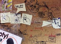 Don't Talk About Choink! | Time Clock area | Rasputin Music | Berkeley (david ross smith) Tags: rasputinmusic rasputin rasputinrecords berkeley california telegraphavenue recordstore cdstore dvdstore bulletinboard corkboard graffiti crap drs davidrosssmith art kensarachan postit