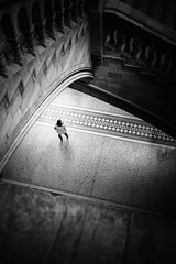 A view from above (lja_photo) Tags: london londoncity londonsnaturalhistory museum oneperson monochrome monotone monoart moody travel tourism textures street streetphotography shadows stairs stone nhm architecture architectural art artificial abstract square white exploration exposure england urban indoor old photography person people posing dramatic detail design fineart fujixt20 girl history light contrast view black blackandwhite bw bnw blackandwhitephoto