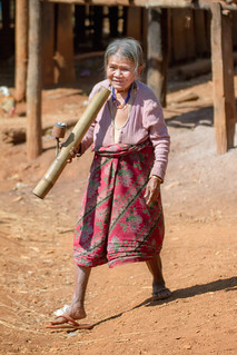 Old woman smoking, Laos