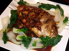 sichuan bass (n.a.) Tags: fish chinese whole sichuan peppercorns square plate leeks chillies red