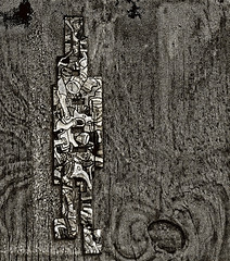 """Street Art On Plywood Seen in West Village (untitled capture) (nrhodesphotos(the_eye_of_the_moment)) Tags: dsc62053001084 """"theeyeofthemoment21gmailcom"""" """"wwwflickrcomphotostheeyeofthemoment"""" monochrome streetart plywood untitled westvillage outdoors art abstract"""