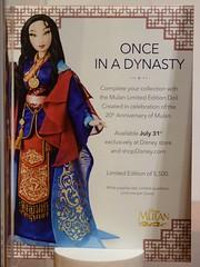 Limited Edition Mulan 16 Inch Doll - Disney Store Display - Closeup of Promo Placard (drj1828) Tags: mulan 20thanniversary limitededition 16inch doll collectible disneystore 2018 display boxed