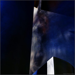 Blue Metal Square (newmexico51) Tags: abstract blue metal square modernart unm universityofnewmexico albuquerque nm newmexico gregorypeterson squareformat