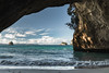 Cathedral (Hanna Tor) Tags: travel trip tourism newzealand peninsula cave cathedral beach shore shoreline nature seascape wave sunset hannator