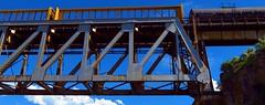 American Falls Train Trestle Abstraction Panorama (Chief Tendoy) Tags: idaho americanfallsdam unitedstates bridge train abstractart colorsandshapes