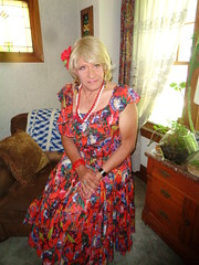 It's Time For A Change (Laurette Victoria) Tags: dress floralprint blonde necklace laurette woman pose