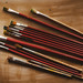 Various Used Wooden Paintbrushes