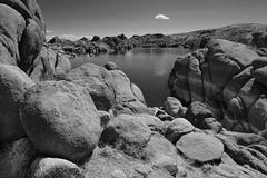 Plus one itty bitty cloud (bw) (rocallosa) Tags: landscapes arizona rocks lakes clouds bw
