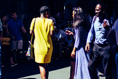 Colourful (angelawoellmer) Tags: women woman friends fashion streetphotography streetphotos street streets streetphotographer bright blue yellow crowd market city citylife london