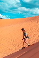 Sand Surfing (Luis Montemayor) Tags: sandsurfing surfing sand dune duna girl chica sky cielo clouds nubes coralpinksanddunes sanddunes simone arora