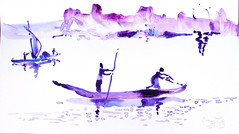 AFRICA TO THE NAKED 332 (eduard muntada) Tags: africa to the naked oxid 332 watercolor drawing river nature mountains simplicity basic minimal survive blue purple sun light