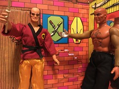 "Dr. Steel instructs on using the ""Stick Thingy"" (atjoe1972) Tags: mattel bigjim drsteel thewhip bigjasper baronfangg kungfustudio karate bokken stickthingy actionfigure teacher master pack allstar seventies 1970s toys atjoe1972"