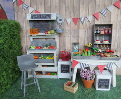 9. Enjoy the bounty of the season (Foxy Belle) Tags: farm stand farmers market diorama doll 16 playscale barbie blythe food produce shabby chic gray white miniature dollhouse scene summer harvest ooak craft barn grass outside yard store business country wood wooden paper