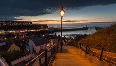 Whitby's 99 steps overlooking the harbour (kevaruka) Tags: whitby northyorkshire seaside sea harbour dusk twilight sunset town sky clouds composition flickr frontpage thephotographyblog canon canoneos5dmk3 canon5dmk3 canonef1635f28mk2 wideangle ultrawideangle 5d3 5diii 5d 5dmk3 england july summer blue orange